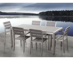 Conjunto de jardín en aluminio - Mesa y 6 sillas gris - VERNIO