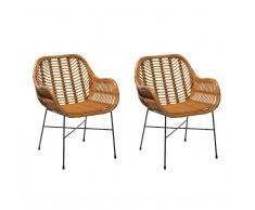 Conjunto de 2 sillas de ratán amarillas CANORA