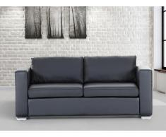 Sofá negro - sofá de piel - 3 plazas - HELSINKI