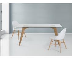 Madera de roble – Mesa de comedor - Vidrio transparente – 180 cm – HUDSON