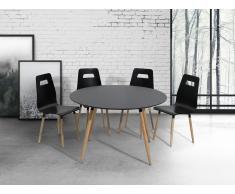 Mesa de comedor – Madera de caucho – 120 cm – Negro – BOVIO