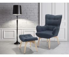 Butaca - Azul marino - Sillón tapizado - Reposapiés - VEJLE