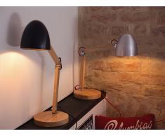 Lámpara de mesa - Iluminación de noche - Madera y aluminio - Plateado - VELEKA