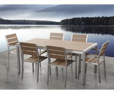 Conjunto de jardín en aluminio - Mesa y 6 sillas marrón - VERNIO
