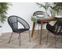 Conjunto de 2 sillas de ratán negras SARITA
