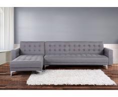 Sofá cama esquinero tapizado en gris claro, versión izquierda ABERDEEN