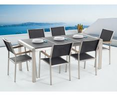 Conjunto de jardín mesa con tablero de piedra natural curtida negra 180 cm, 6 sillas en ratán GROSSETO