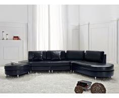 Sofá negro - sofá esquinero - sofá de piel - 5 asientos - COPENHAGEN