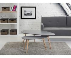 Mesas auxiliares - Mesas nido - 2 piezas - Color gris - FLY
