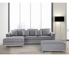 Sofá esquinero tapizado en gris con reposapiés derecho OSLO