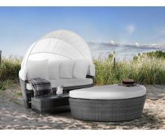 Cama de playa - Camastro en ratán con mesa baja - Gris - SYLT LUX