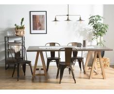 Conjunto de 2 sillas en metal y madera, marrón oscuro, APOLLO
