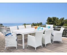 Mesa de ratán en blanco con 8 sillas - Juego de comedor para jardín - ITALY