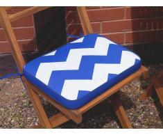 Cojín para silla de jardín FIJI -29x38x5 cm - Azul y blanco zigzag
