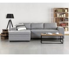 Sofá esquinero - Sofá cama - Tapizado - Chaise longue - Gris claro - Almacenaje - KIRUNA