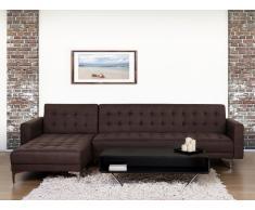Sofá cama esquinero tapizado marrón oscuro, versión izquierda ABERDEEN