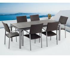 Conjunto de jardín - Granito flameado negro - Mesa 180 cm con 6 sillas en ratán - TORINO