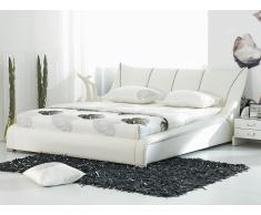 Cama en piel blanca con somier 180x200 cm NANTES