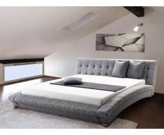 Cama de agua - Tapizada - 160 x 200 cm - Color gris - Conjunto completo - LILLE