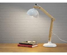 Lámpara de mesa - Lámpara de trabajo - Metal y madera - Blanca - SALADO