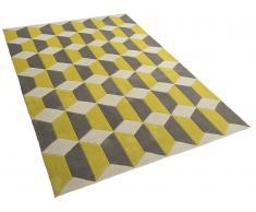 Alfombra de poliéster - 80x150 cm - Color gris-amarillo - ANTALYA