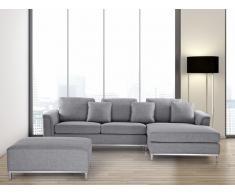 Sofá esquinero tapizado gris claro, versión izquierda OSLO