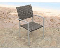 Silla de jardín - silla de acero inoxidable con asiento en ratán - TORINO