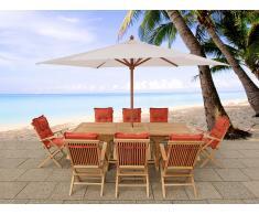 Conjunto de jardín - Mesa de madera dura - 8 sillas con cojines en color terracota - JAVA