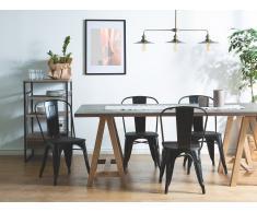 Conjunto de 2 sillas en metal y madera, negro, APOLLO