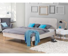 Cama tapizada – Tela - 160x200 cm – Tamaño extra grande - Beige – RENNES