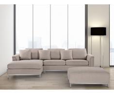 Sofá esquinero tapizado en beige con reposapiés derecho OSLO