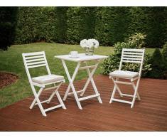 Conjunto de jardín, Mesa + 2 sillas, con cojín gris-beige, FIJI