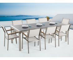Conjunto de jardín mesa con tablero de piedra natural gris pulido 220 cm, 8 sillas blancas GROSSETO