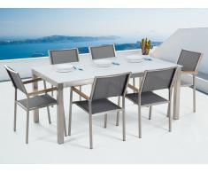 Conjunto de jardín - Vidrio templado blanco - Mesa 180 cm con 6 sillas grises - GROSSETO