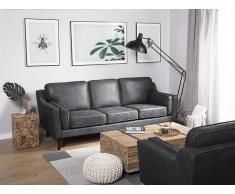 Sofá 3 plazas imitación del cuero gris LOKKA