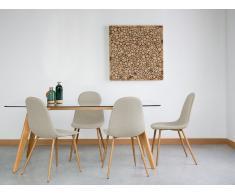 Conjunto de 2 sillas en madera con tapizado beige BRUCE
