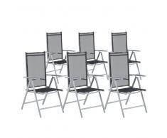 Conjunto de 6 sillas de jardín negras en aluminio CATANIA