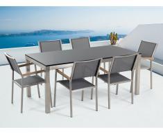 Conjunto de jardín mesa con tablero de piedra natural 180 cm, 6 sillas grises GROSSETO