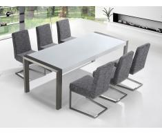 Mesa de comedor 220 cm – Blanco - Acero inoxidable - 6 sillas - Arctic I