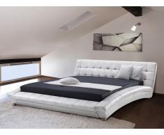 Moderna cama - Cama en piel - 160x200cm - Color blanco - LILLE