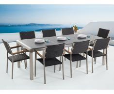 Conjunto de jardín mesa con tablero de piedra natural pulida gris 220 cm, 8 sillas en ratán GROSSETO