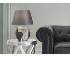 Lámpara de mesa - Pie de cerámica - Color negro-plateado - ESLA