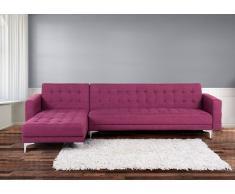 Sofá cama esquinero tapizado en violeta ABERDEEN