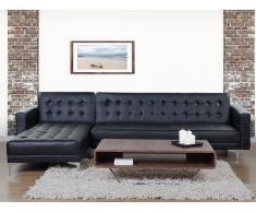 Sofá esquinero – Sofá cama – Piel sintética – Negro – ABERDEEN