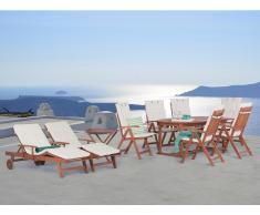 Conjunto de jardín de madera - 2 Mesas - 6 sillas - 2 Tumbonas - Cojines beige - TOSCANA