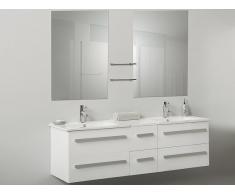 Muebles de baño - Armario de lavabo - 2 lavabos cerámicos - 2 espejos - MADRID blanco