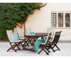 Conjunto de jardín de madera – Mesa – 6 sillas – Cojines en color beige - MAUI