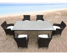 Mesa de ratán con 6 sillas - juego de comedor para jardín - ITALY