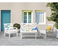 Conjunto de jardín en madera blanco con cojines beige BALTIC