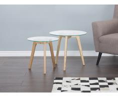 Conjunto de 2 mesas - Superficie de vidro - Mesas auxiliares - MISSOURI